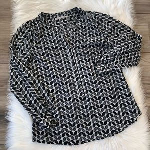 41 Hawthorn Stitch Fix Blouse Black/White Leaves